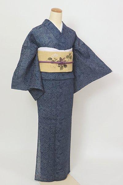 銀座【A-3361】小千谷縮 留紺色 竹や笹の図