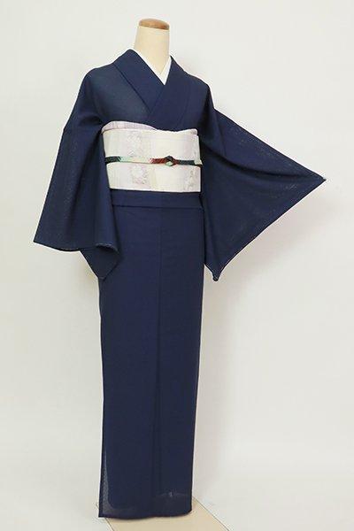 銀座【C-2111】薄物 繍一ッ紋 色無地 濃藍色 紗綾形の地紋