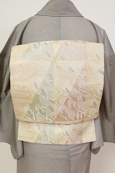 銀座【L-5691】夏 袋帯 薄卵色 流水に麦や蜻蛉の図