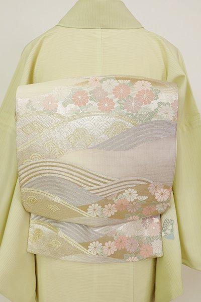 銀座【L-5692】夏 袋帯 練色×霞色 波に菊の図