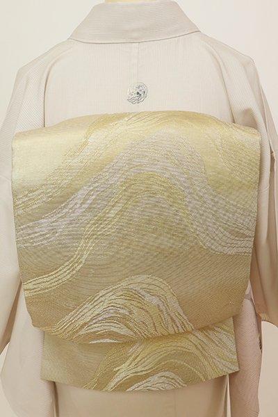 銀座【L-5694】紗 袋帯 白橡色 抽象文