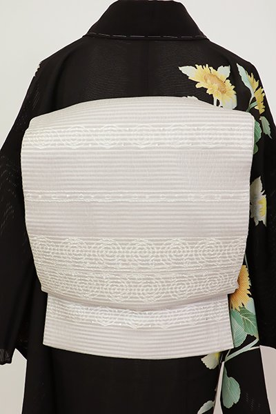銀座【L-5696】夏 袋帯 霞色 横段に装飾文