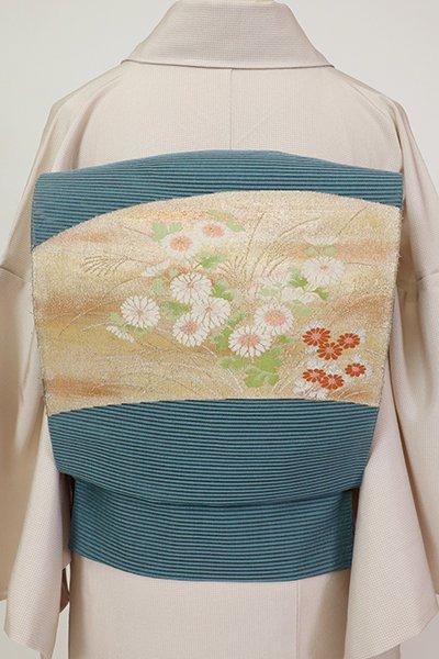 銀座【K-7511】西陣 河村織物製 絽綴れ 八寸織名古屋帯 藍鼠色 菊と芒の図(落款入)