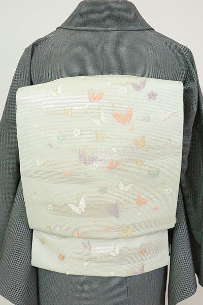 銀座【K-7513】絽 織名古屋帯 柳鼠色 蝶の図