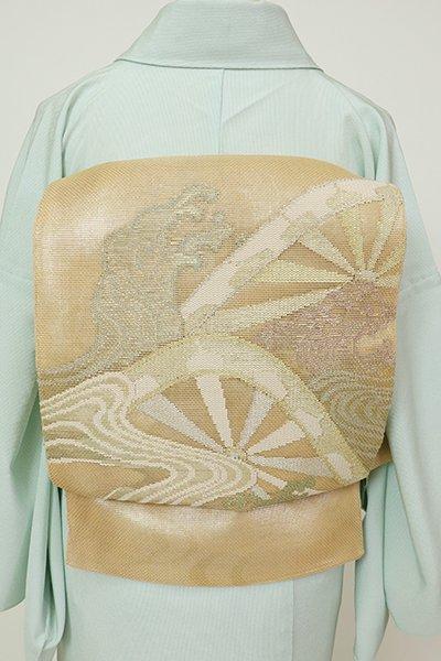 銀座【L-5698】紗 袋帯 淡香色 波に源氏車の図