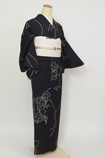 銀座【D-2802】紋紗 小紋 黒色 蔓草の図