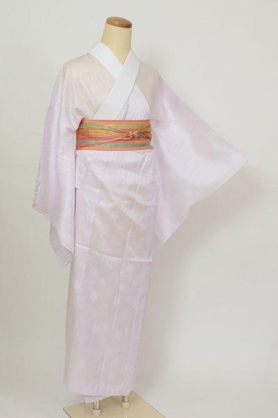 銀座【F-507】(S)紋紗 長襦袢 白藤色 流線に桜の地紋