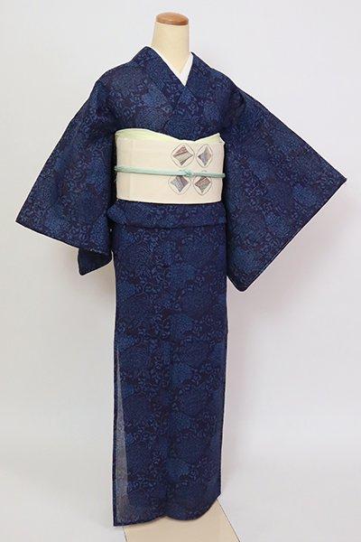 銀座【D-2803】小千谷縮地 藍染 小紋 濃藍色 牡丹唐草文(反端付)