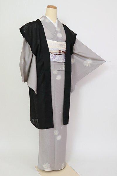 銀座【E-1413】紋紗 袖なし羽織 黒色 松葉の地紋