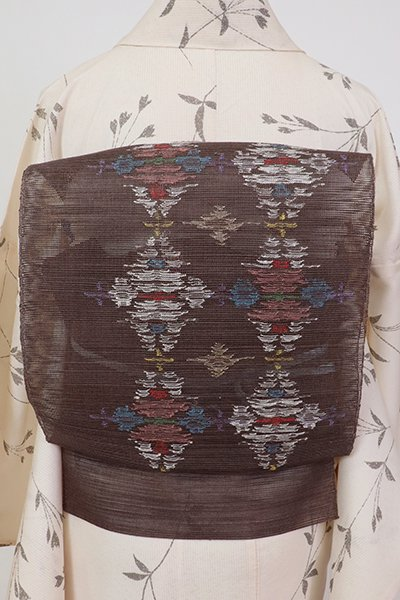 銀座【K-7523】粗紗 八寸名古屋帯 紅消鼠色 抽象文