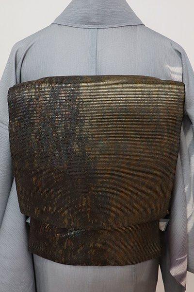 銀座【L-5702】絽 袋帯 黒色×金色 抽象文