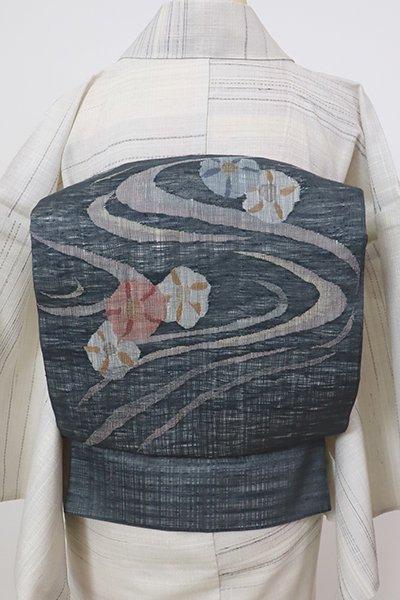 銀座【K-7525】夏紬地 織名古屋帯 藍墨茶色 流水に朝顔の図