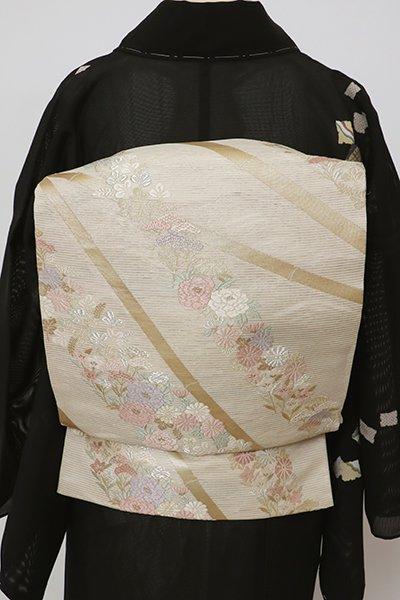 銀座【L-5703】絽 袋帯 練色 竹に秋草の図