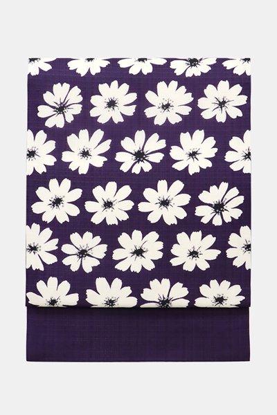 銀座【帯3874】夏紬地 染名古屋帯 深紫色 コスモスの図