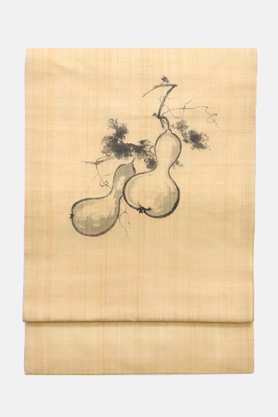 銀座【帯3879】芭蕉布地 染名古屋帯 瓢箪の図