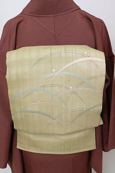 銀座【L-5704】 紗紬地 洒落袋帯 白橡色 露芝文
