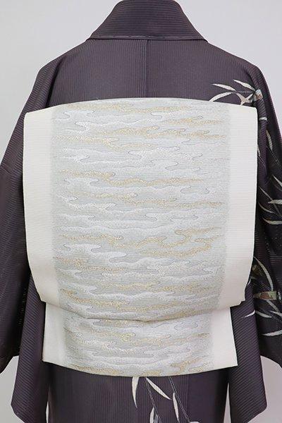 銀座【L-5705】西陣製 絽 袋帯 生成り色 波濤文(反端付)