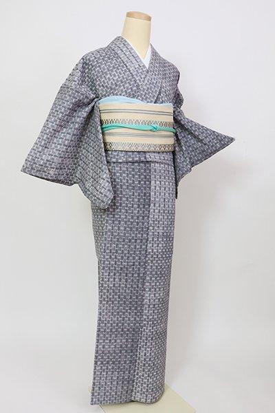 銀座【D-2811】紺仁製 単衣 片貝木綿 絞り染め 小紋 紺鼠色 縞(反端付・伊勢丹扱い)