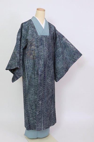 銀座【E-1419】夏 道行コート 青藍色 抽象文