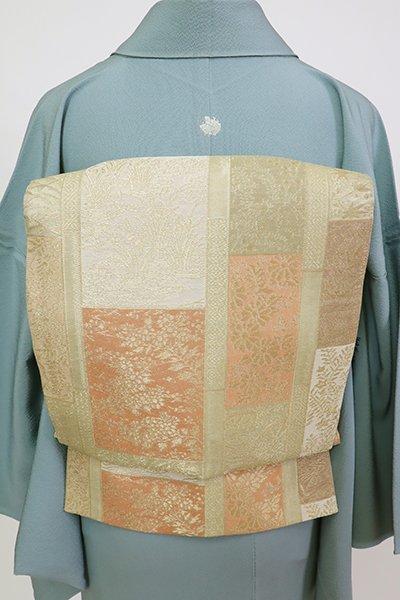 銀座【L-5707】紗 袋帯 淡い柳茶色 四季花の図