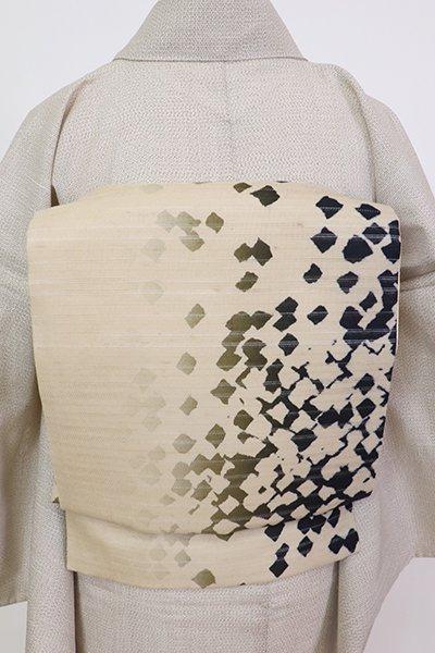銀座【L-5710】絽紬地 洒落袋帯 白橡色 竪暈かしに抽象文