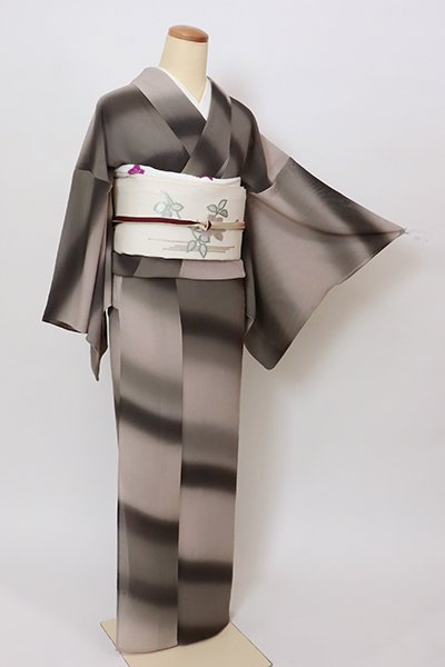 銀座【D-2813】(S・細め)紗紬地 小紋 海松茶色×枯野色 斜め暈かし(反端付)