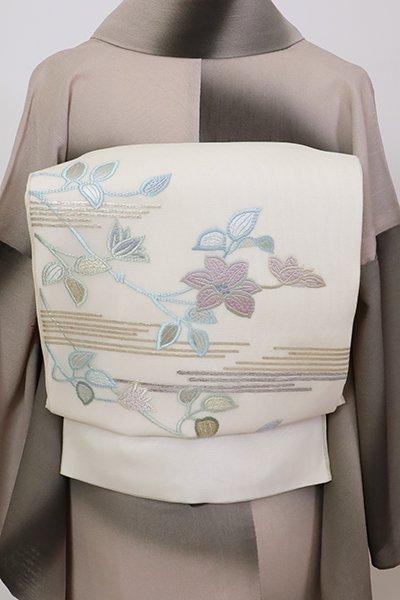 銀座【L-5712】紗 袋帯 象牙色 鉄線の図