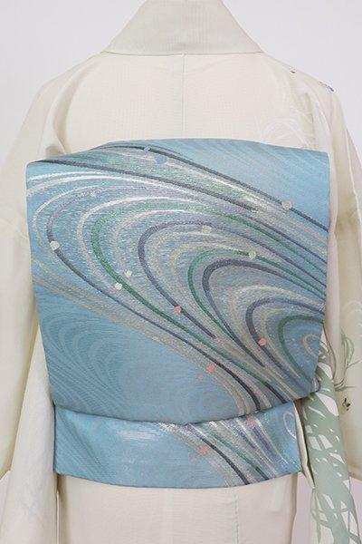 銀座【L-5714】絽 袋帯 浅縹色 流線の図
