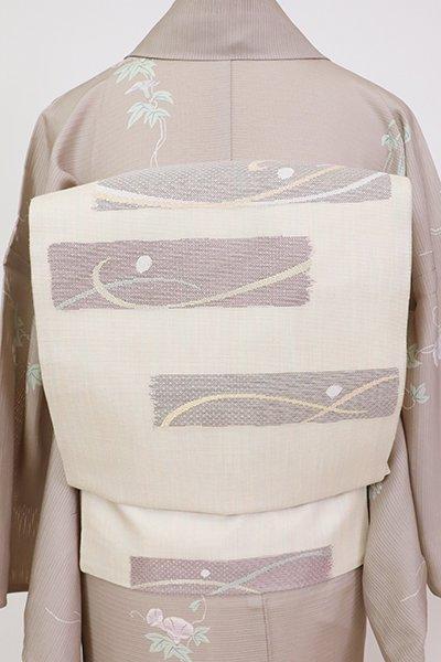 銀座【K-7533】紗 織名古屋帯 薄卵色 横段に抽象文