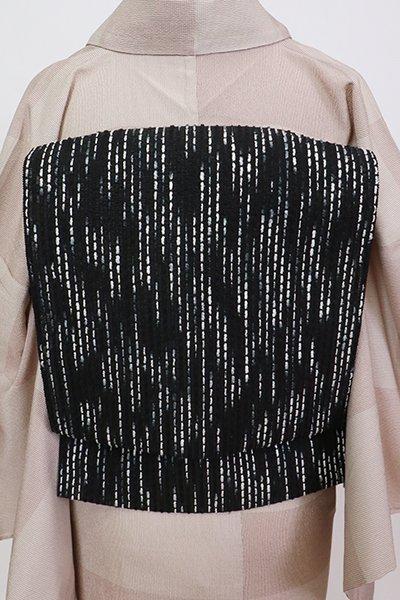 銀座【K-7534】竪絽 織名古屋帯 黒色 抽象文