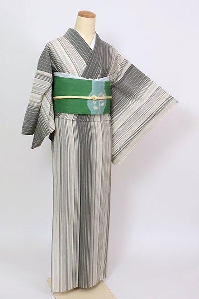 銀座【A-3371】竪絽 織着物 白色×墨色 竪縞(反端付)