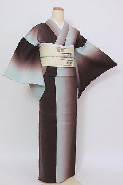 銀座【D-2819】(細め)三勝製 麻地 小紋 黒鳶色×千草鼠色 竪暈かし