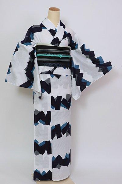 銀座【D-2820】三勝製 綿絽 浴衣 白色 幾何文