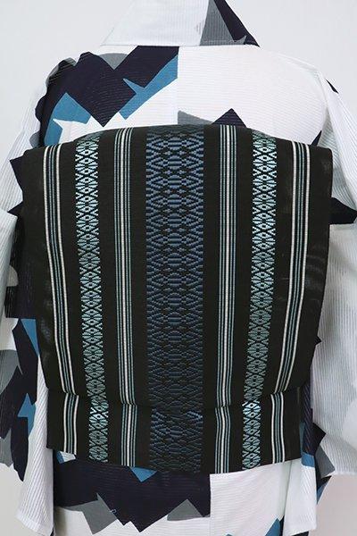 銀座【K-7550】織屋にしむら 本場筑前博多織 紗献上 八寸名古屋帯 黒色(証紙付)