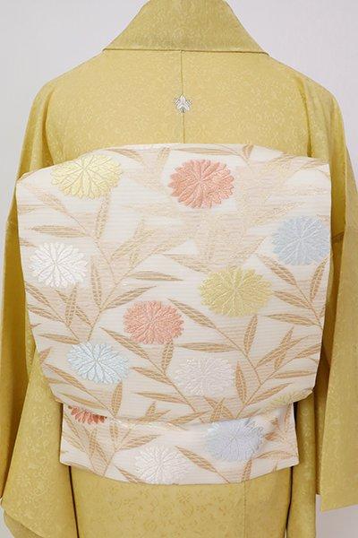 銀座【K-7555】絽 織名古屋帯 象牙色 菊に笹の図
