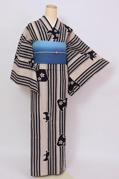 銀座【D-2824】木綿 浴衣 亜麻色 竪縞に千鳥の図