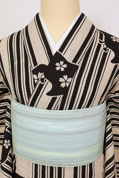 銀座【K-7558】本場筑前博多織 紗 半幅帯 水色 縞(証紙付)