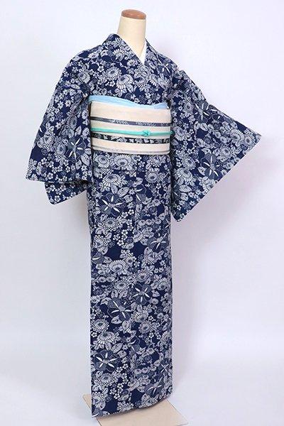 銀座【D-2826】綿絽 浴衣 留紺色 菊や椿など