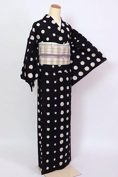銀座【D-2827】(L)木綿 浴衣 漆黒色 丸文