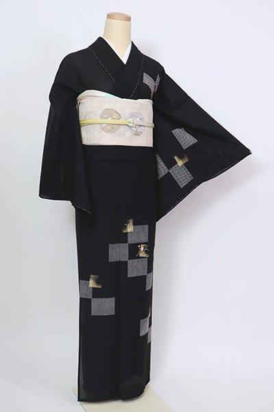銀座【B-2941】薄物 付下げ 黒色 市松に秋草の図