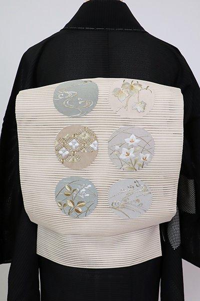 銀座【K-7564】絽綴れ 刺繍 八寸名古屋帯 薄卵色 丸文