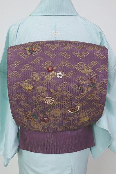 銀座【L-5718】櫛織 夏 袋帯 似せ紫色 青海波に四季花や蝶の図