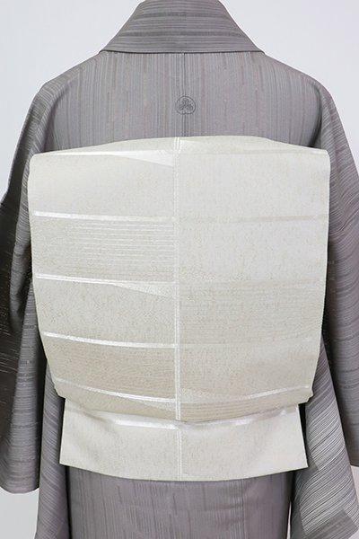 銀座【L-5719】絽 袋帯 淡い利休白茶色 幾何文