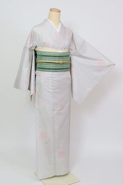 銀座【A-3379】(L・広め)単衣 白大島紬 白鼠色 手鞠の図