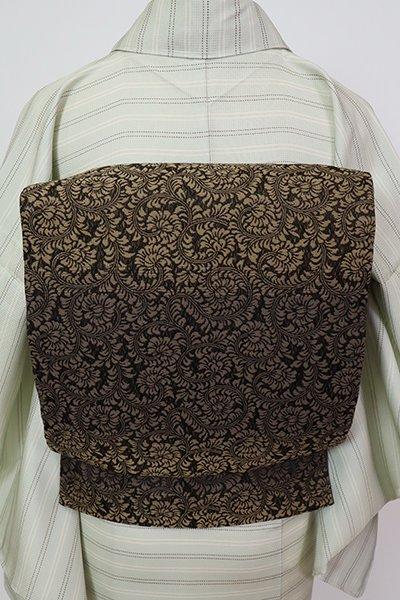 銀座【L-5721】洒落袋帯 赤墨色 横段に牡丹唐草文