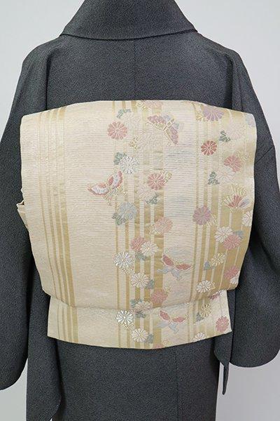 銀座【L-5722】西陣製 絽 袋帯 鳥の子色 縞に菊や蝶の図(紙札付)