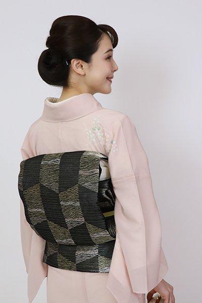 銀座【L-5717】西陣製 絽 袋帯 黒色 幾何文(証紙付)