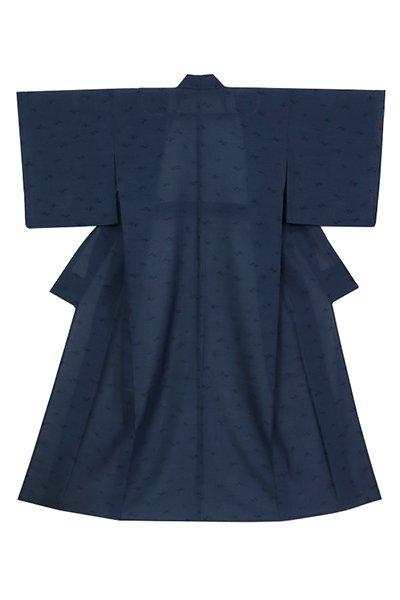 あおき【着物3181】東郷織物製 本場夏大島紬 濃藍色 霞文 (反端 証紙付)
