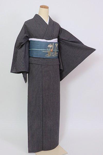 銀座【A-3382】(L)単衣 綿紬 濃藍色×焦茶色 竪縞
