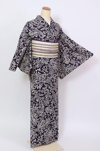 銀座【D-2836】(細め)綿絽 浴衣 紫紺色 ペイズリー文(水流扱い・畳紙付・反端付)